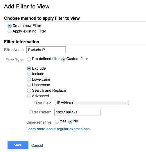 exclude ip filter google analytics