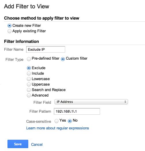 exclude ip filter google analytics
