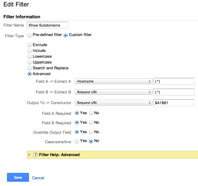 show subdomains filter google analytics