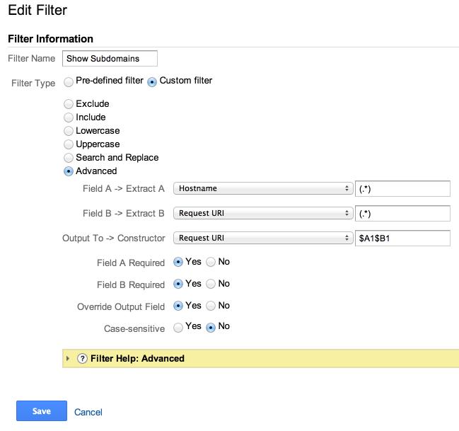 show subdomains filter google analytics