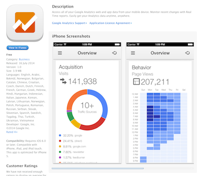Google Analytics app in app store